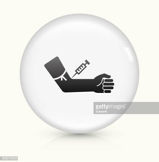 blood donation icon on white round vector button - heroin stock illustrations, clip art, cartoons, & icons