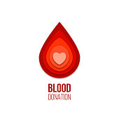 Blood donation icon. Vector red blood drop with heart inside.