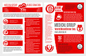 Blood donation medical brochure, poster template