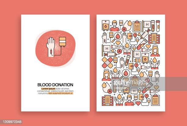 ilustraciones, imágenes clip art, dibujos animados e iconos de stock de diseño relacionado con la donación de sangre. plantillas vectoriales modernas para folleto, portada, folleto e informe anual. - sangre humana