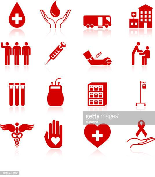blood donation royalty free vector icon set - human blood stock illustrations, clip art, cartoons, & icons