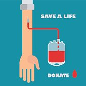 Blood donation, save a life vector concept