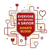 Blood Donation vector illustration with red heart and drop counter.