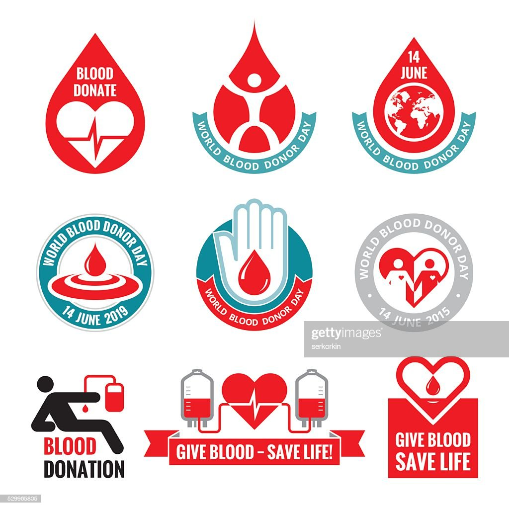 Blood donation - vector logo badges collection. World blood donor day