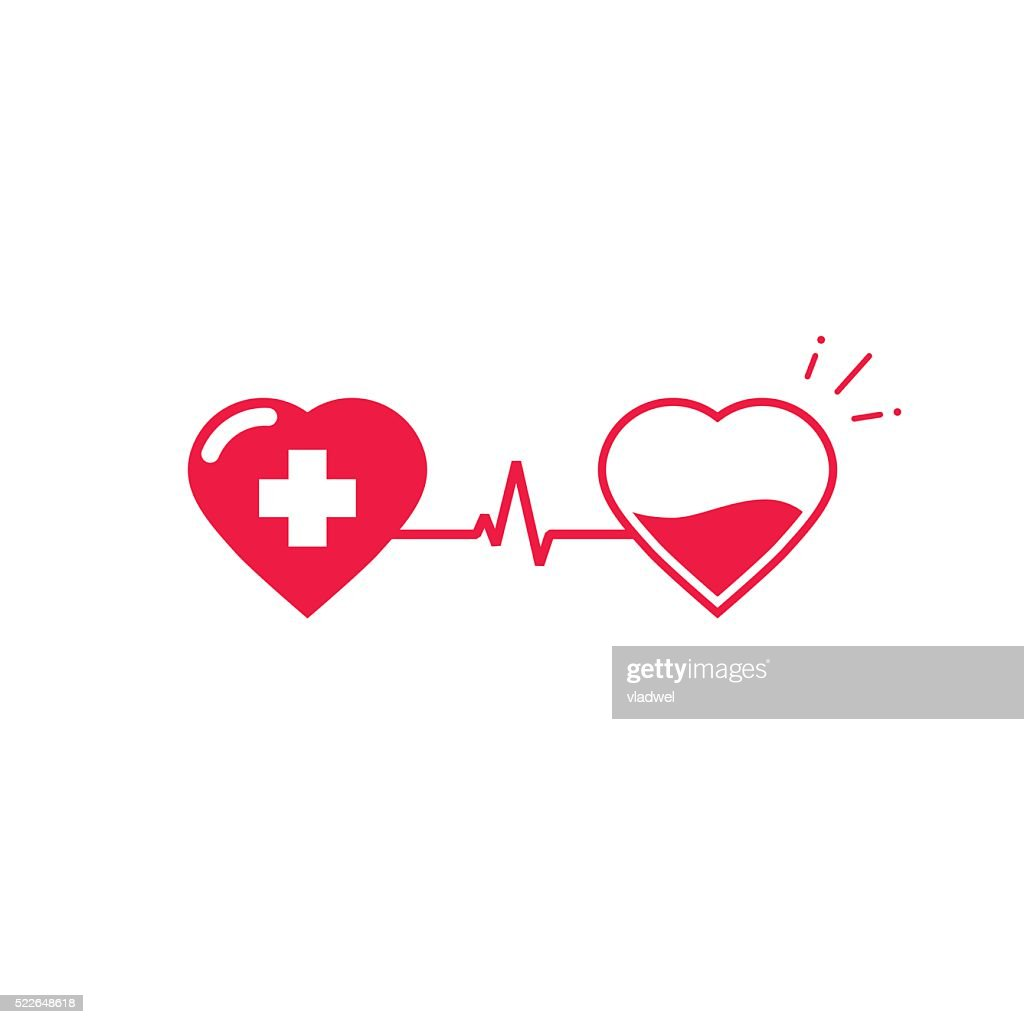 Blood donation vector symbol, two hearts connected with pulse cardiogram