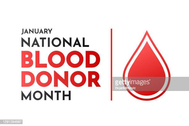 blood donor month card with drop of blood, january. vector - annual event stock illustrations