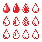 Blood Drop Emblem. Logo Template. Icon Set. Vector