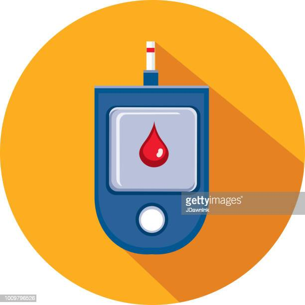 blood glucose medical flat design themed icon set with shadow - diabetes stock illustrations