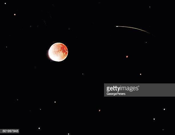 blood moon eclipse - man in the moon stock illustrations, clip art, cartoons, & icons