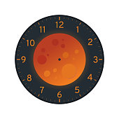 Blood Moon Printable Clock Face Template