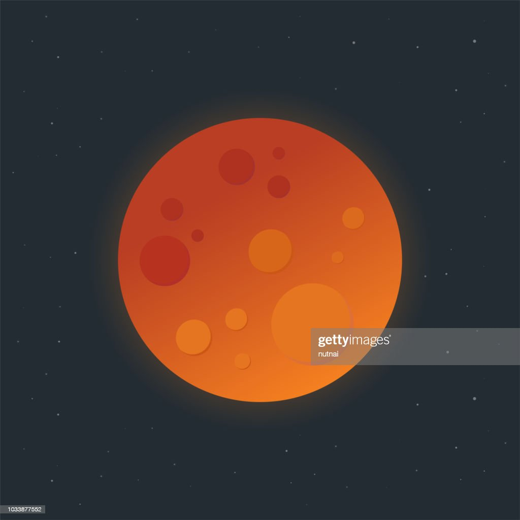 Blood Moon, Total Lunar Eclipse - Vector