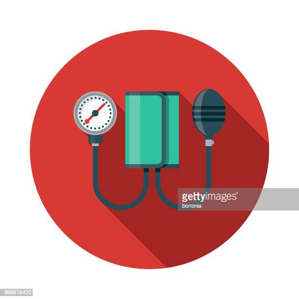 blood pressure cuff flat design emergency services icon - physical pressure stock illustrations