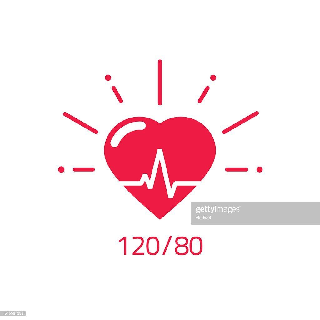 Blood pressure vector icon, good health heart logo, healthy pulse