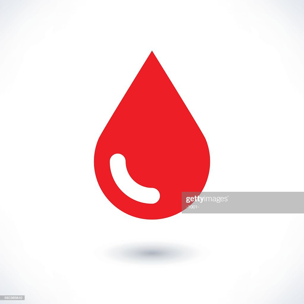 Blood red drop icon with gray shadow on white