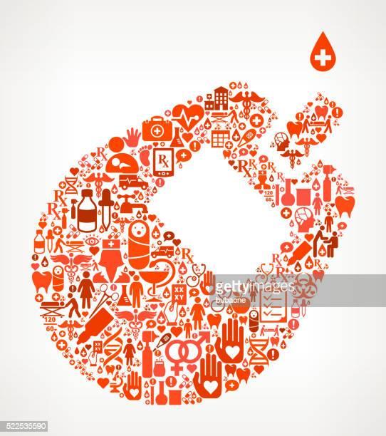 ilustraciones, imágenes clip art, dibujos animados e iconos de stock de análisis de sangre de la atención médica y la medicina icono patrón sin costuras - diabetes