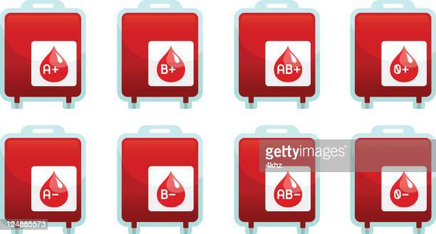 blood type pack icon set infographics - blood bag stock illustrations, clip art, cartoons, & icons