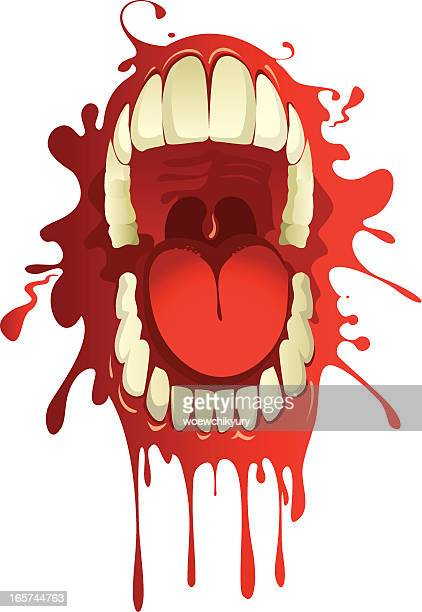 blood-stained mouth - human mouth stock illustrations, clip art, cartoons, & icons