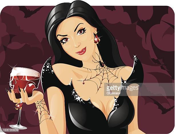bloodthirsty vamp - beautiful woman stock illustrations, clip art, cartoons, & icons