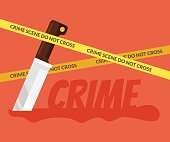 Bloody knife. Crime scene. Vector flat cartoon illustration