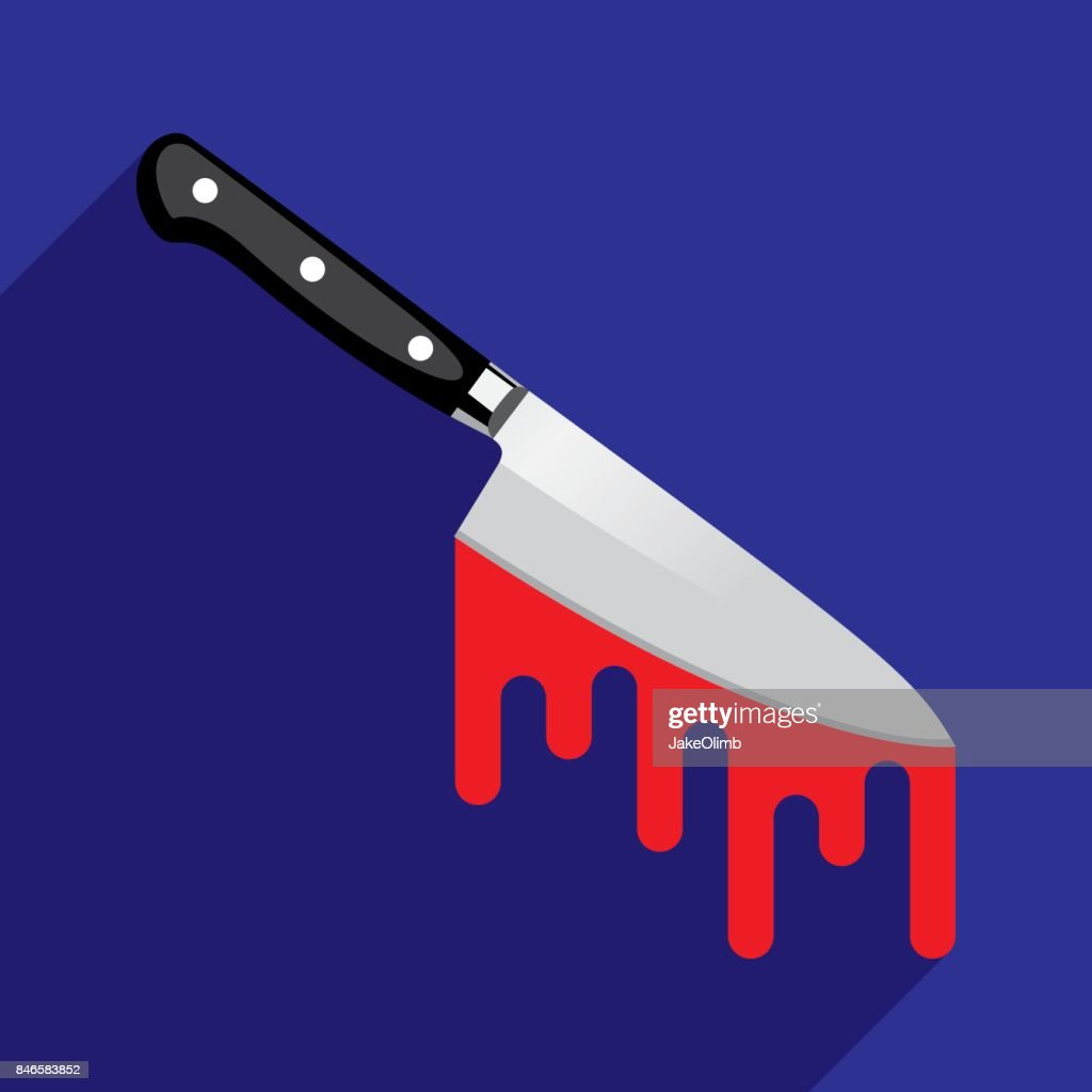 Bloody Knife Icon Flat