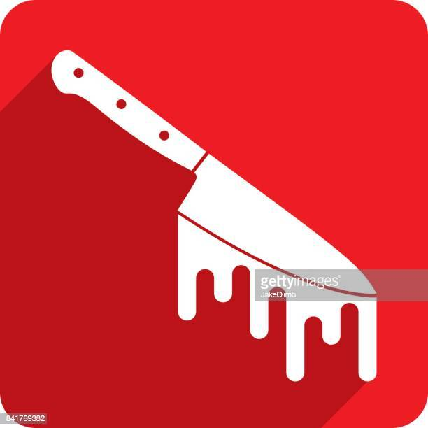 血まみれのナイフのアイコンのシルエット - 刺傷事件点のイラスト素材/クリップアート素材/マンガ素材/アイコン素材
