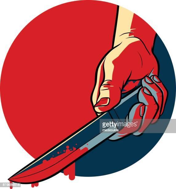 bloody knife - killing stock illustrations