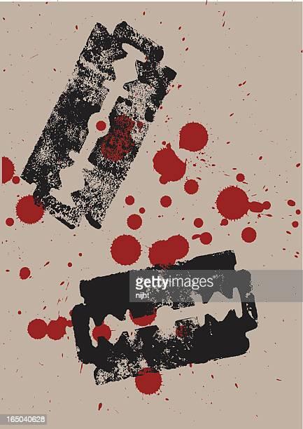 bloody razors - razor blade stock illustrations, clip art, cartoons, & icons