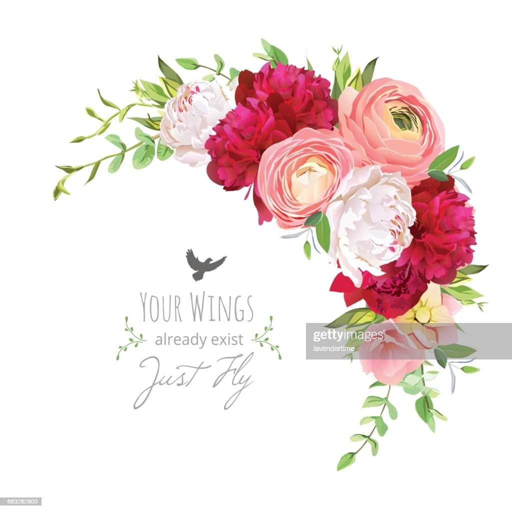 Blooming bouquet floral vector frame with ranunculus, peony, ros