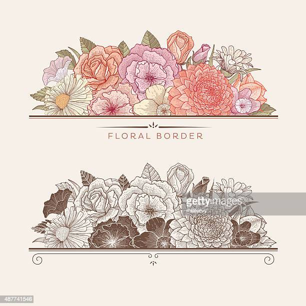 Blooming floral borders