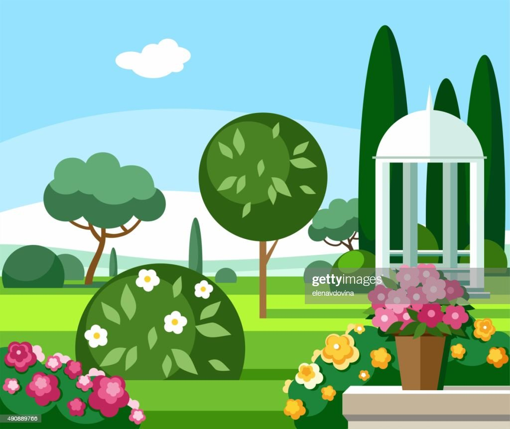 Blooming garden with a white gazebo, coloured illustrations.