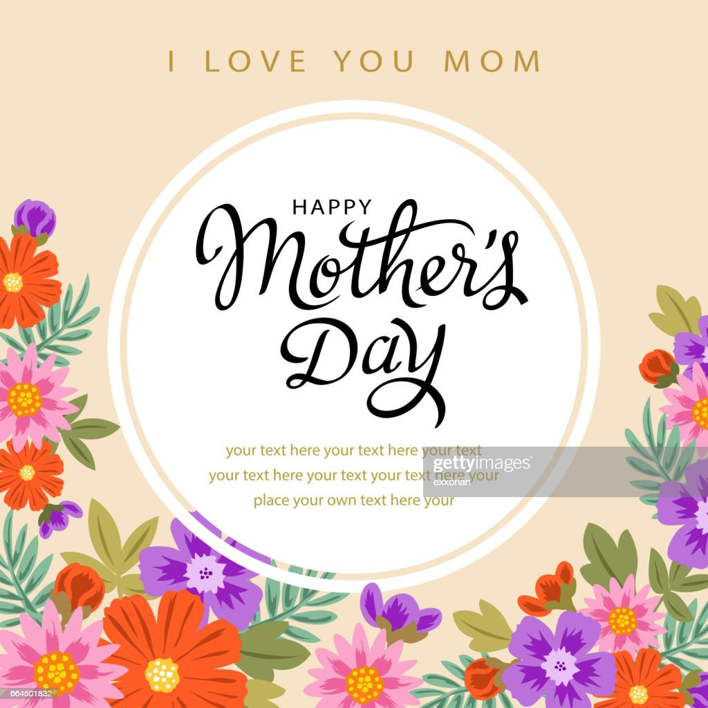Blooming Mother's Day Greeting Card : stock illustration