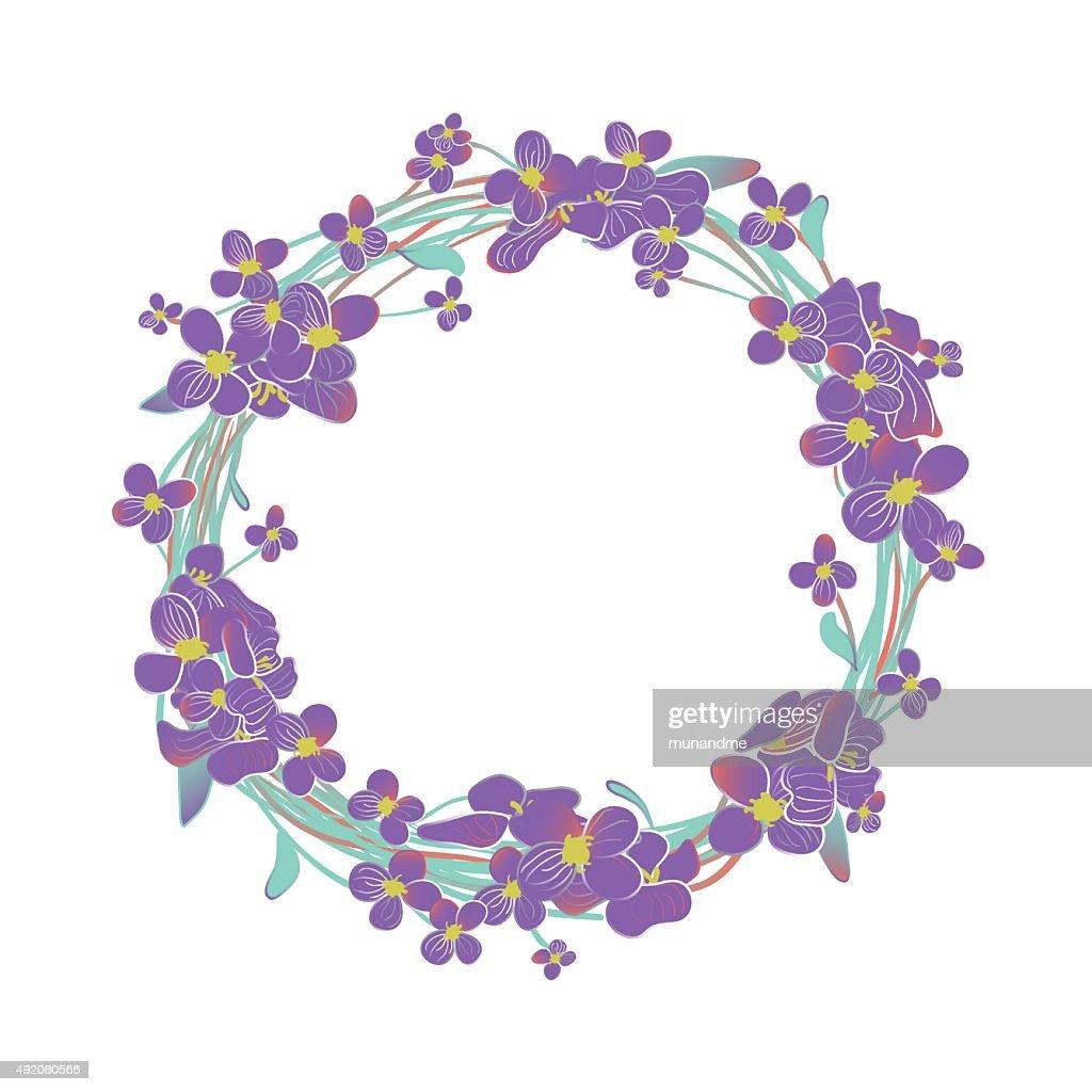 Blooming purple Alyssum flowers wreath