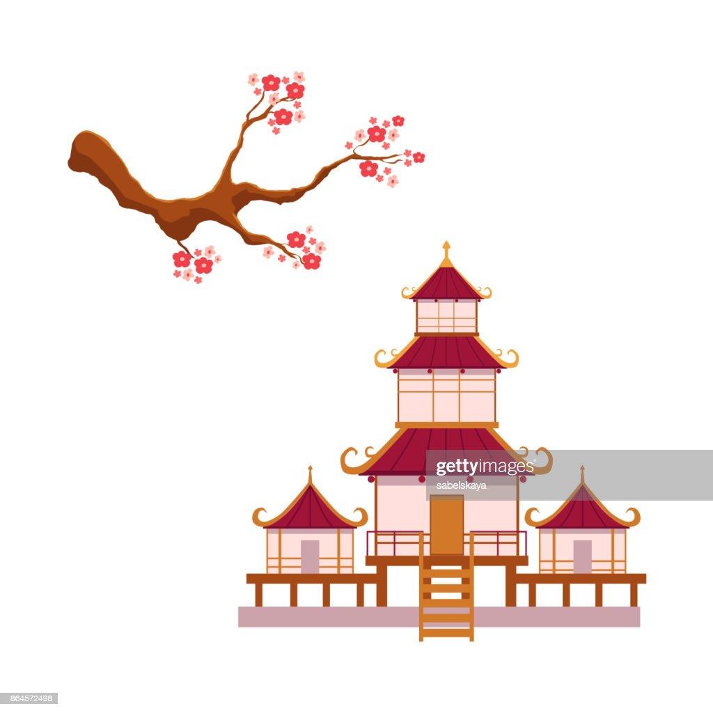 blooming sakura branch, pagoda vector set