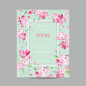 Blooming Spring and Summer Floral Frame. Watercolor Sakura Flowers for Invitation, Wedding, Baby Shower Card in Vector