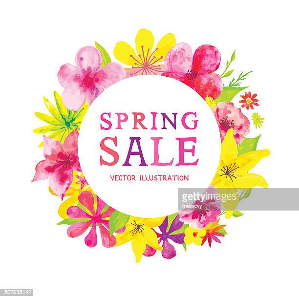 blooming spring sale - springtime stock illustrations, clip art, cartoons, & icons