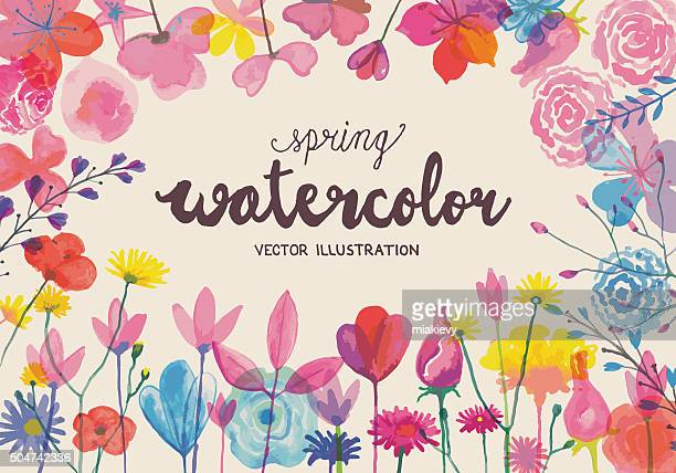 blooming watercolors - poppy stock illustrations, clip art, cartoons, & icons