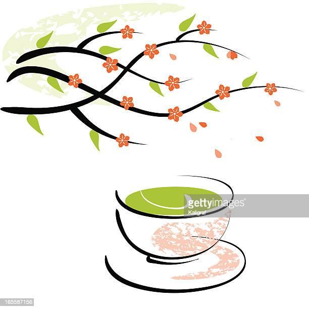 blossom and green tea cup - green tea stock illustrations, clip art, cartoons, & icons