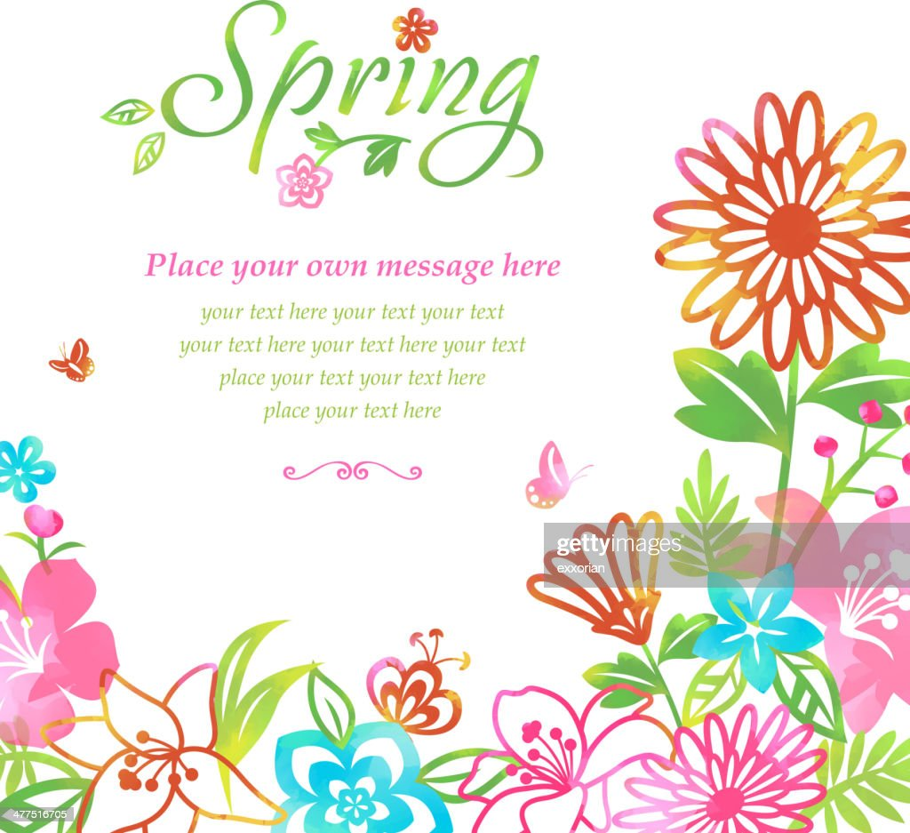 Blossom into Spring Flowers Frame Background