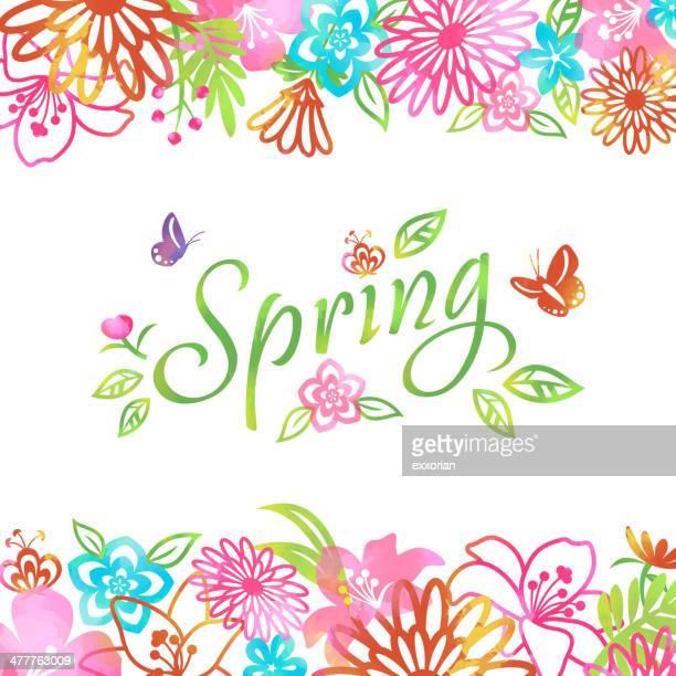ilustrações, clipart, desenhos animados e ícones de flor de primavera flores sobre fundo de quadro - lepidóptero