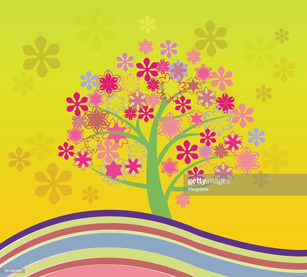 Blossoming Cherry Tree Abstract Illustrations