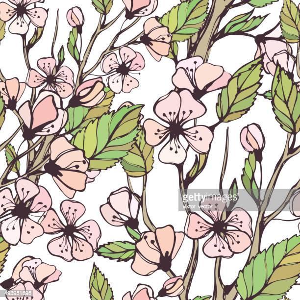 Blühenden Spring Branch.  Nahtloser Vektor-Muster