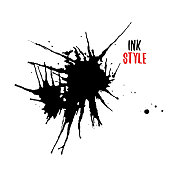 Blots on white background in ink style