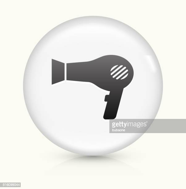 blow dryer icon on white round vector button - hair dryer stock illustrations, clip art, cartoons, & icons