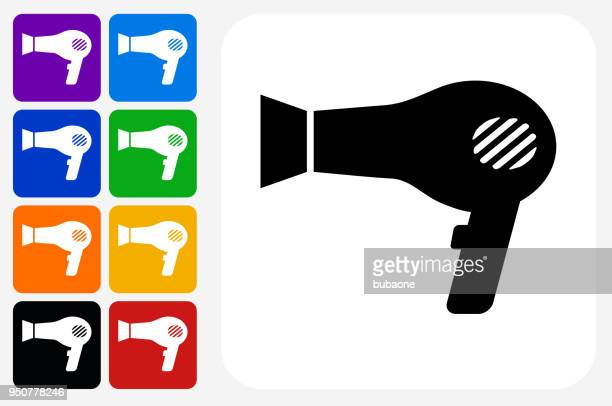blow dryer icon square button set - hair dryer stock illustrations, clip art, cartoons, & icons