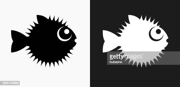 Blow Fish Icon on Black and White Vector Backgrounds