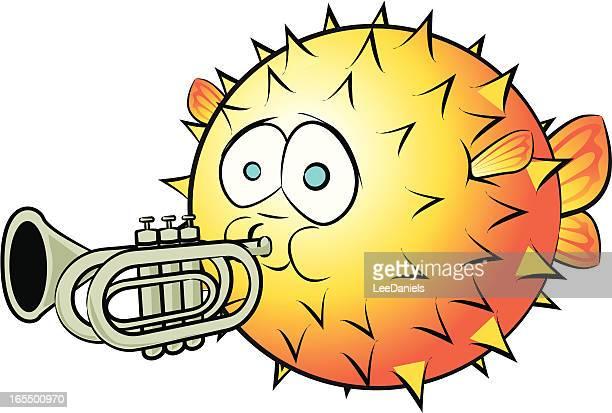 blowfish and trumpet cartoon - animal spine stock illustrations, clip art, cartoons, & icons