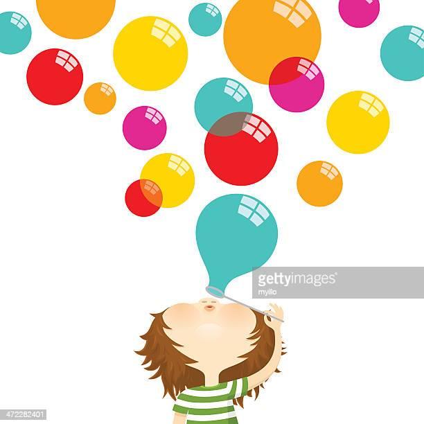 Soprar bolhas de ar. Feliz Criança