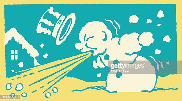 blowing snowman - sneezing stock illustrations, clip art, cartoons, & icons