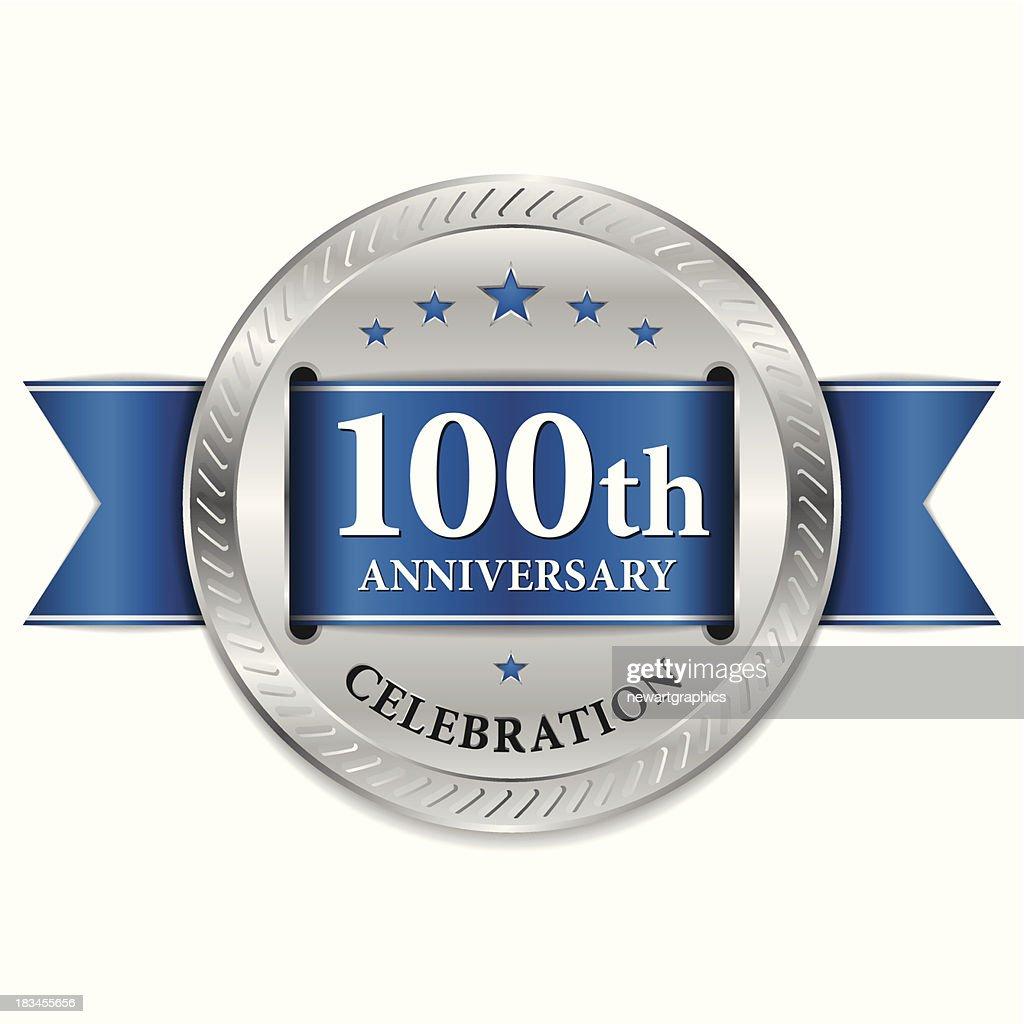 Blue 100th anniversary seal
