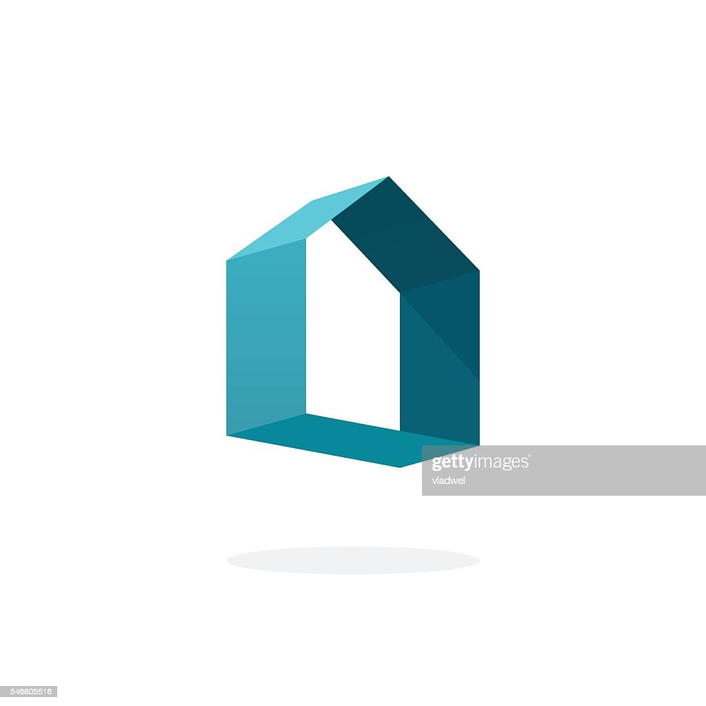 Blue 3d abstract geometric home logo, house technology sign